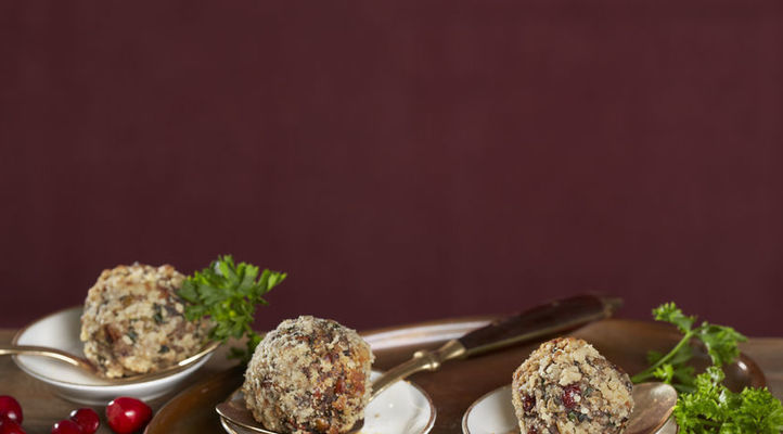 Mushroom Walnut Balls with Cranberry-Pear Sauce