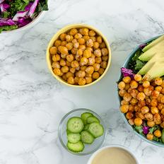 Superfood Grain Bowl with Crunchy Chickpeas, Avocado and Turmeric-Tahini Sauce