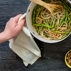 Brown Rice Spaghetti with Miso Walnut Sauce and Crisp Green Beans