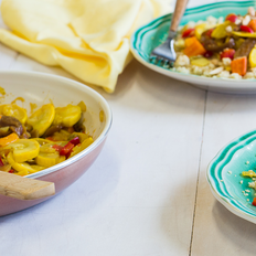 Summer Squash Tagine with Golden Raisins and Moroccan Couscous