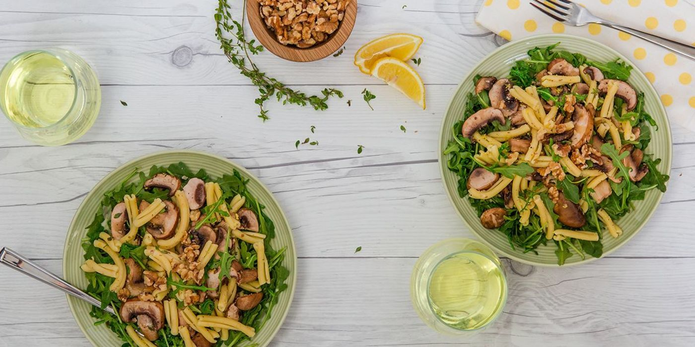 Summer Pasta with Lemon-Thyme Mushrooms and Toasted Walnuts