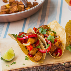 """Smoky """"Chorizo""""  Tacos with Caramelized Onions and Peppers"""