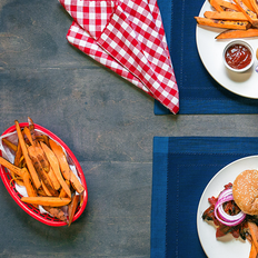 Portobello Mushroom BBQ with Sweet Potato Fries and Pickled Red Onions