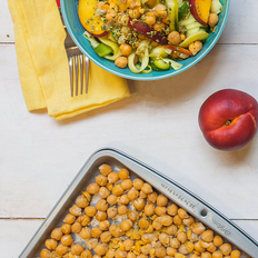 Zoodles with Pumpkin Seed Pesto, Nectarines, and Crispy Chickpeas