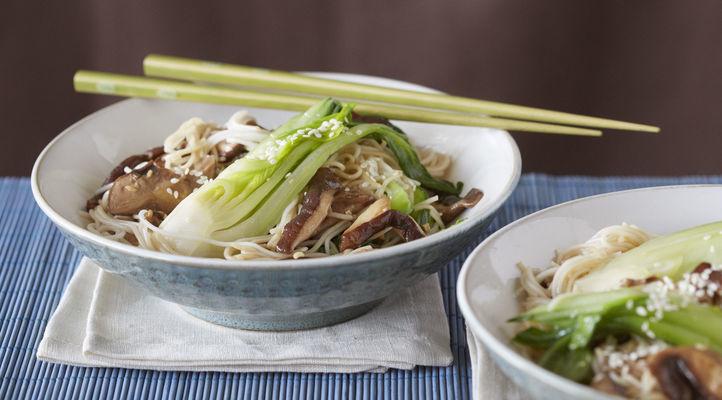 Shitake Bok Choy Soba Noodle Bowl