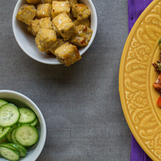 Confetti Quinoa with Sweet Tempeh Croutons and Cucumber Salad