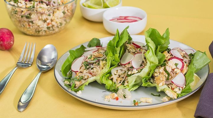 Lettuce Cups with Tofu and Thai Basil