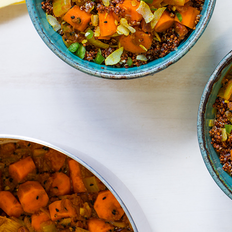 Carrot Masala with Red Quinoa and Toasted Coconut