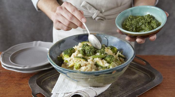 Broccoli Risotto with Bright Parsley Pesto