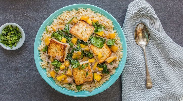 Mango Curry Tofu with Wilted Spinach and Brown Rice