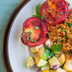 Moroccan Spiced Millet with Summer Squash and Roasted Tomatoes