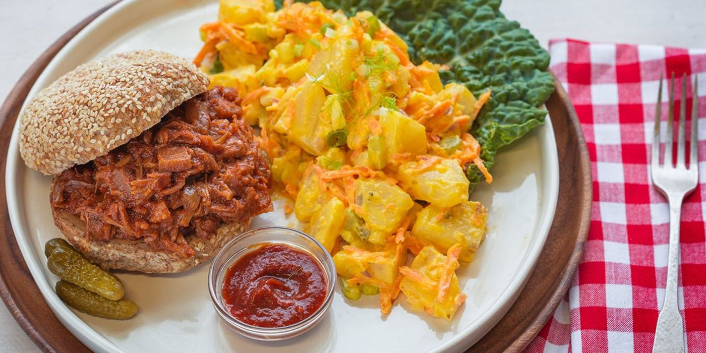 BBQ Jackfruit with Loaded Potato Salad
