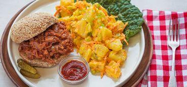BBQ Jackfruit with Loaded Potato Salad