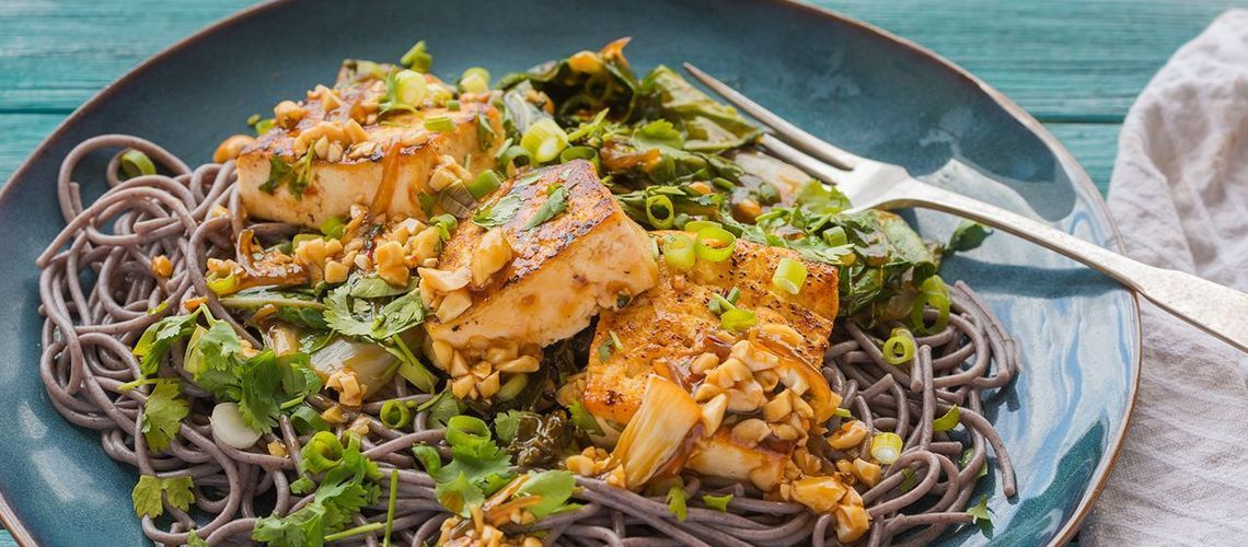 Pan-Seared Tofu over Black Rice Noodles