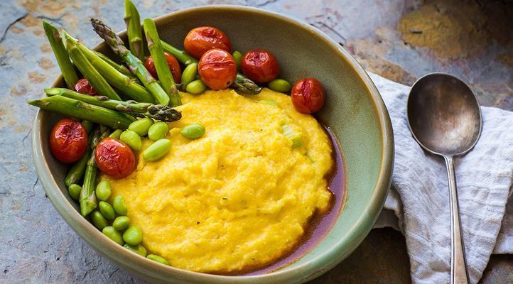 Creamy Leek Polenta with Summer Vegetables