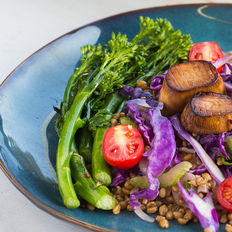 """Seared """"Scallops"""" with Stir-Fried Farro and Spicy Broccolini"""