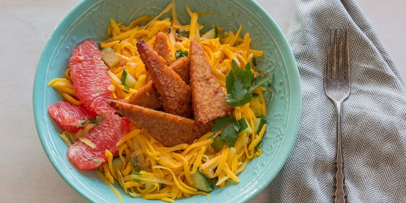 Sweet and Spicy Tempeh with Green Mango Salad