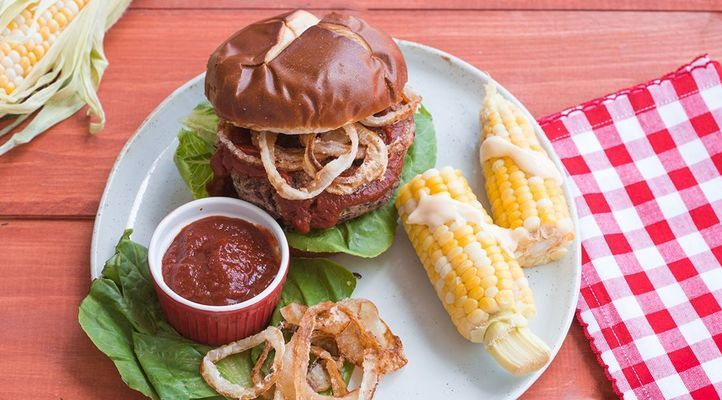 Better Bean Burger with Fried Onions and Roasted Corn