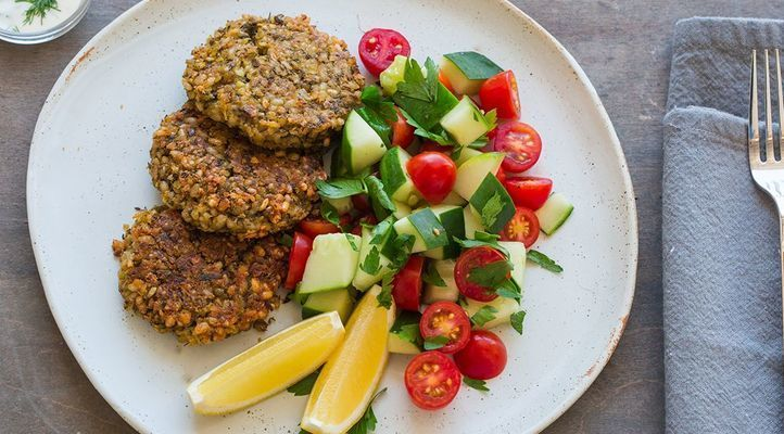 Crispy Falafel with Cucumber and Tomato Salad