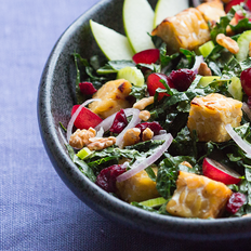 Kale Waldorf Salad with Baked Tempeh and Cranberry-Walnut Dressing