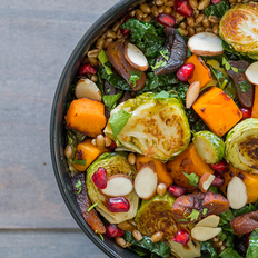 Apricot Wheatberry Bowl with Roasted Vegetables and Pomegranate Seeds