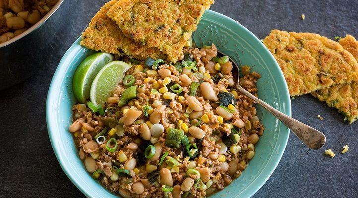White Bean Poblano Chili with Masa Flatbread