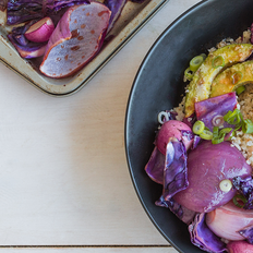 Crispy Avocado and Date-Glazed Vegetables over Cauliflower Rice