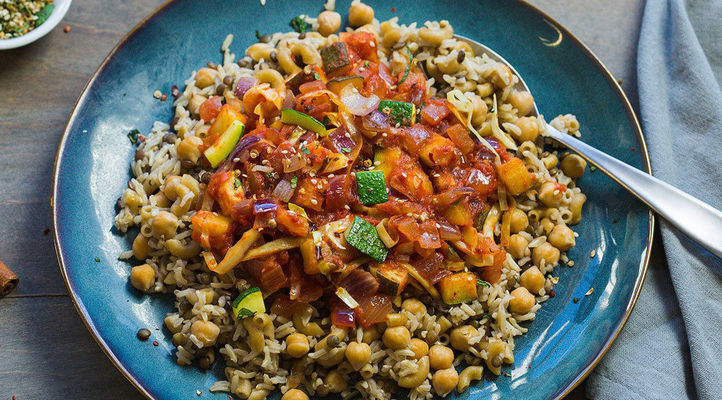 Egyptian Pilaf with Spiced-Tomato Sauce and Cracked Coriander