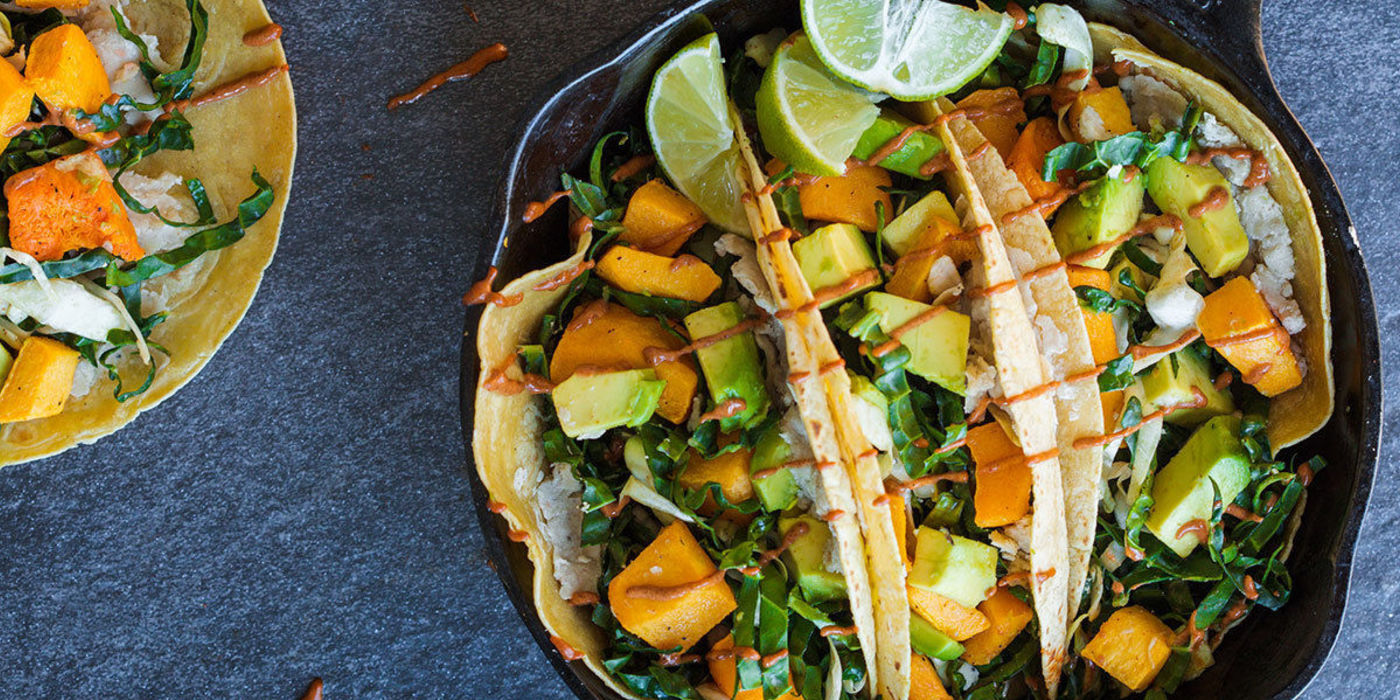 Pumpkin Harvest Taco with Spiced Date Kale Slaw
