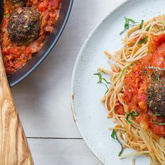 "Miso-Chili ""Meatballs"" with Brown Rice Spaghetti"