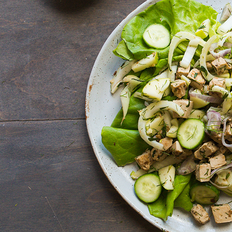 """Tarragon """"Chicken"""" Salad with Shaved Fennel and Green Apple"""