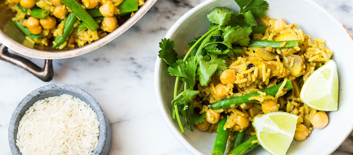 Vegetable Biryani with Green Beans and Mushrooms  image