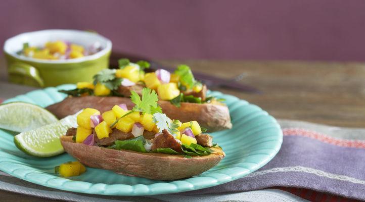Mango Salsa BBQ Chik'N Sweet Potatoes