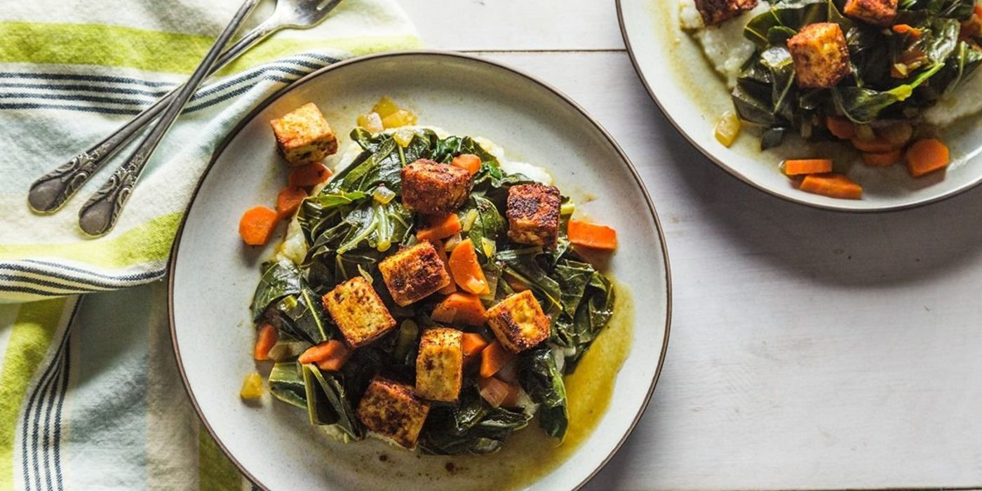 Cajun Baked Tofu with Braised Collards & Grits