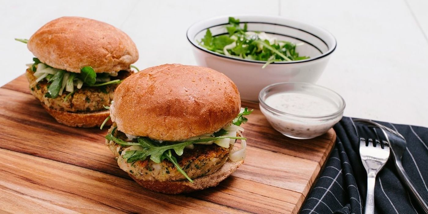 Cannellini Bean Burger with Caper Aioli and Fennel