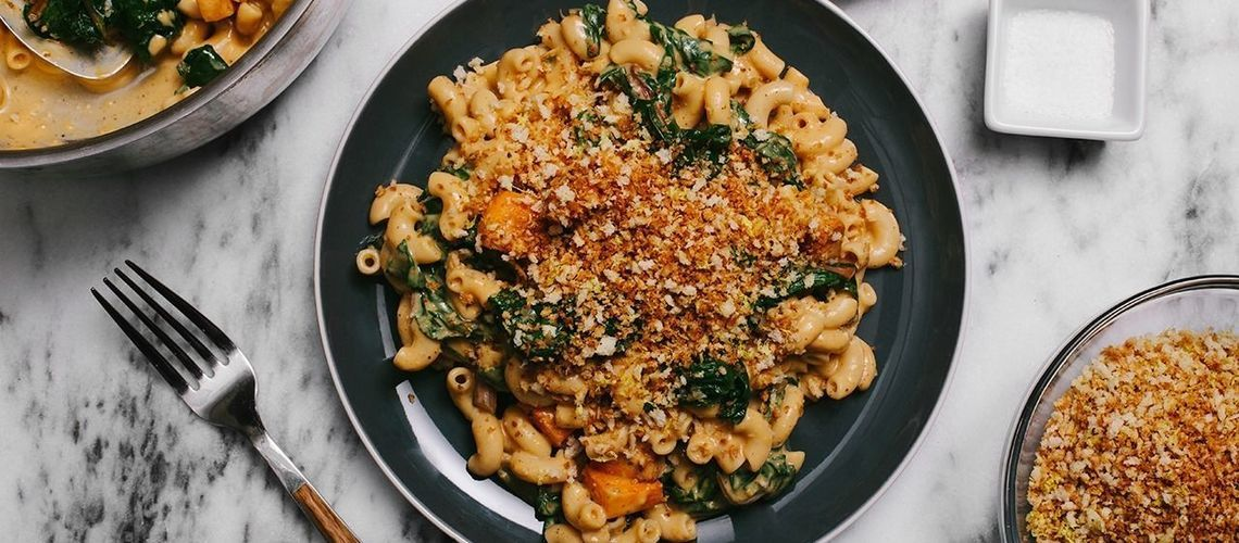 Butternut Macaroni and Cheese with Swiss Chard and Garlic Breadcrumbs