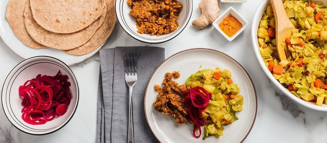 Ethiopian Platter with Berbere Lentils & Beet Pickles