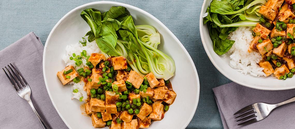 Mapo Tofu with Steamed Bok Choy and Jasmine Rice