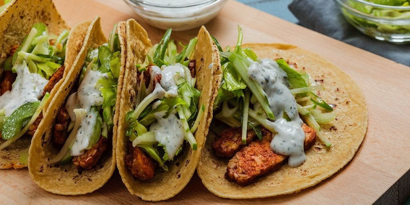 Buffalo Tempeh Tacos with Celery Apple Slaw and Ranch Crema