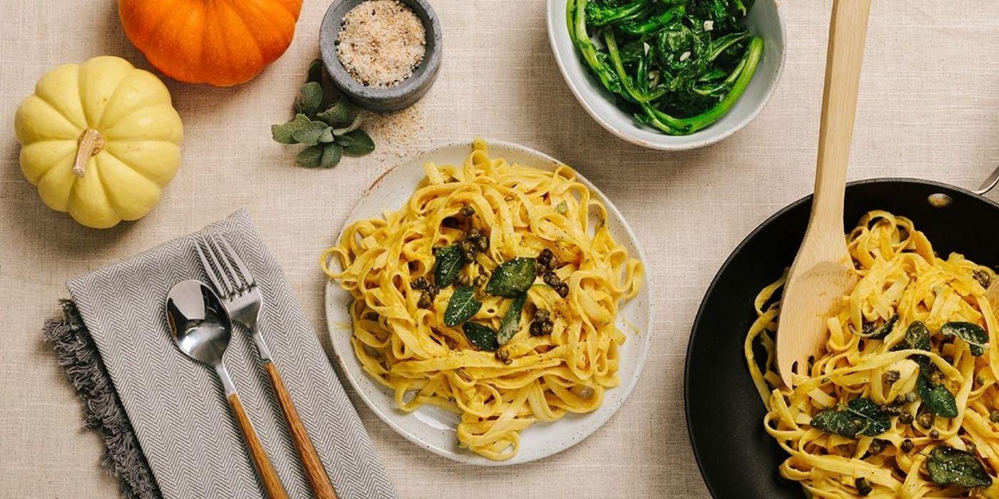 Pumpkin Fettuccine Alfredo with Crispy Sage and Broccoli Rabe