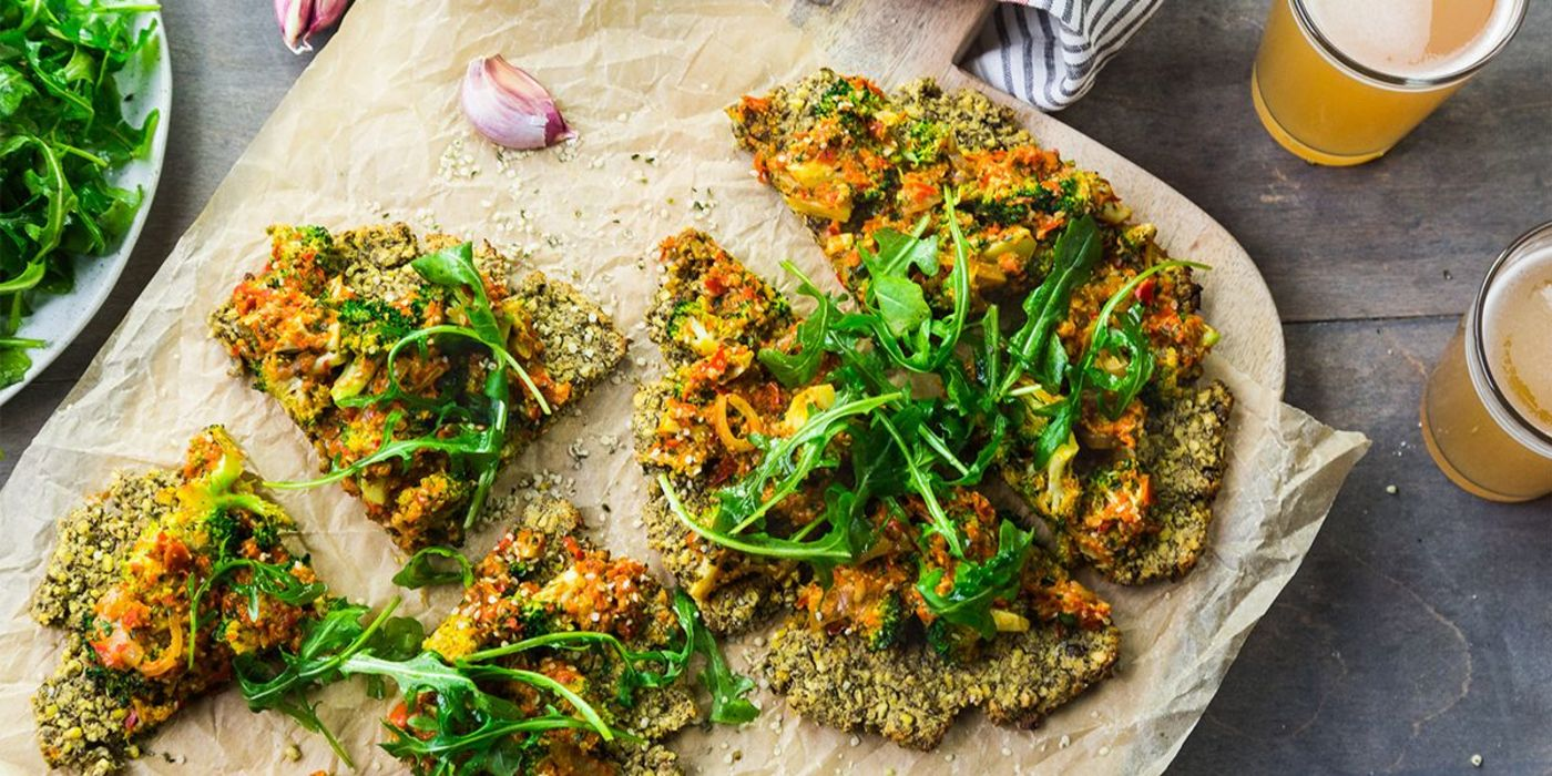 Thrive Sweet Pepper and Hemp Seed Pesto Pizza with Broccoli and Basil