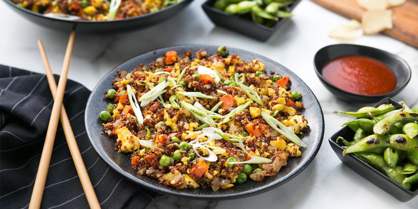 "Quinoa Fried Rice with Tofu ""Egg"" and Edamame"