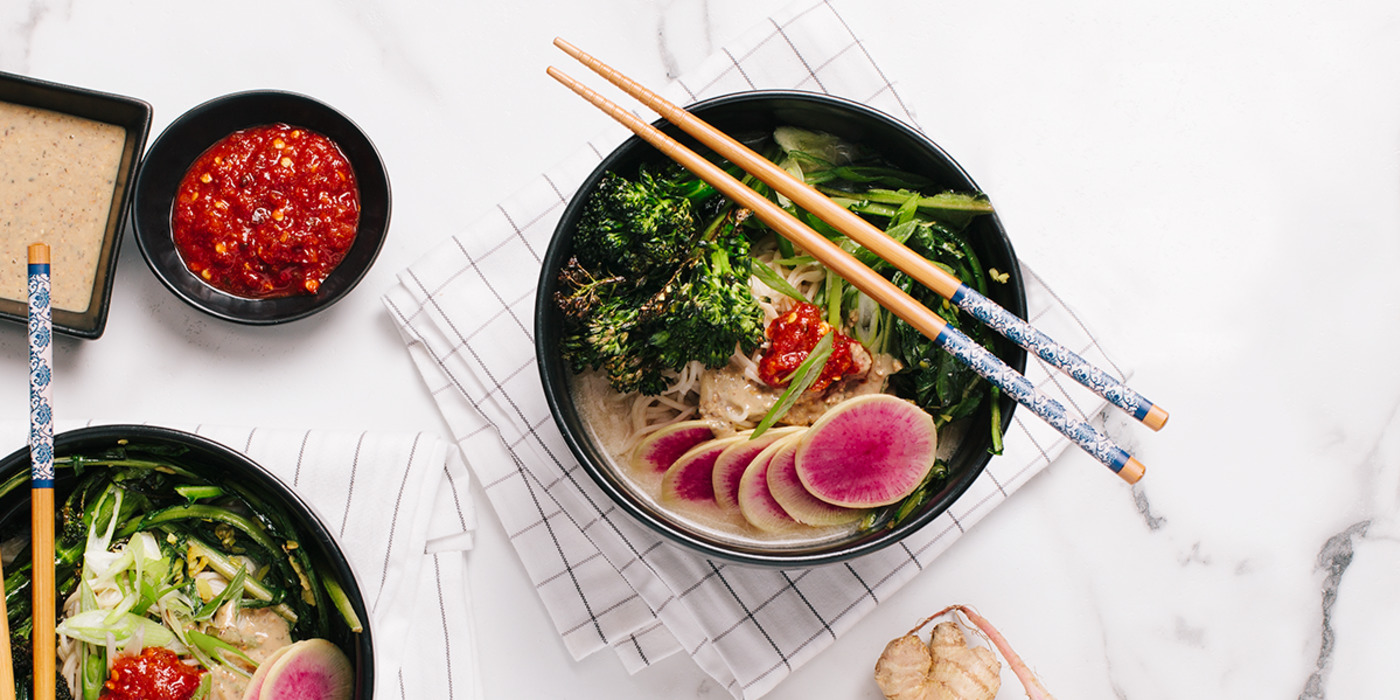 Ramen Bowl with Gingered Amaranth Greens & Watermelon Radish