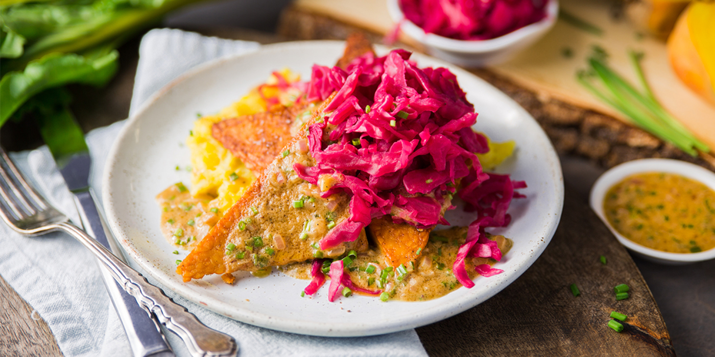 Mustard Glazed Tempeh with Red Kraut and Smashed Beets