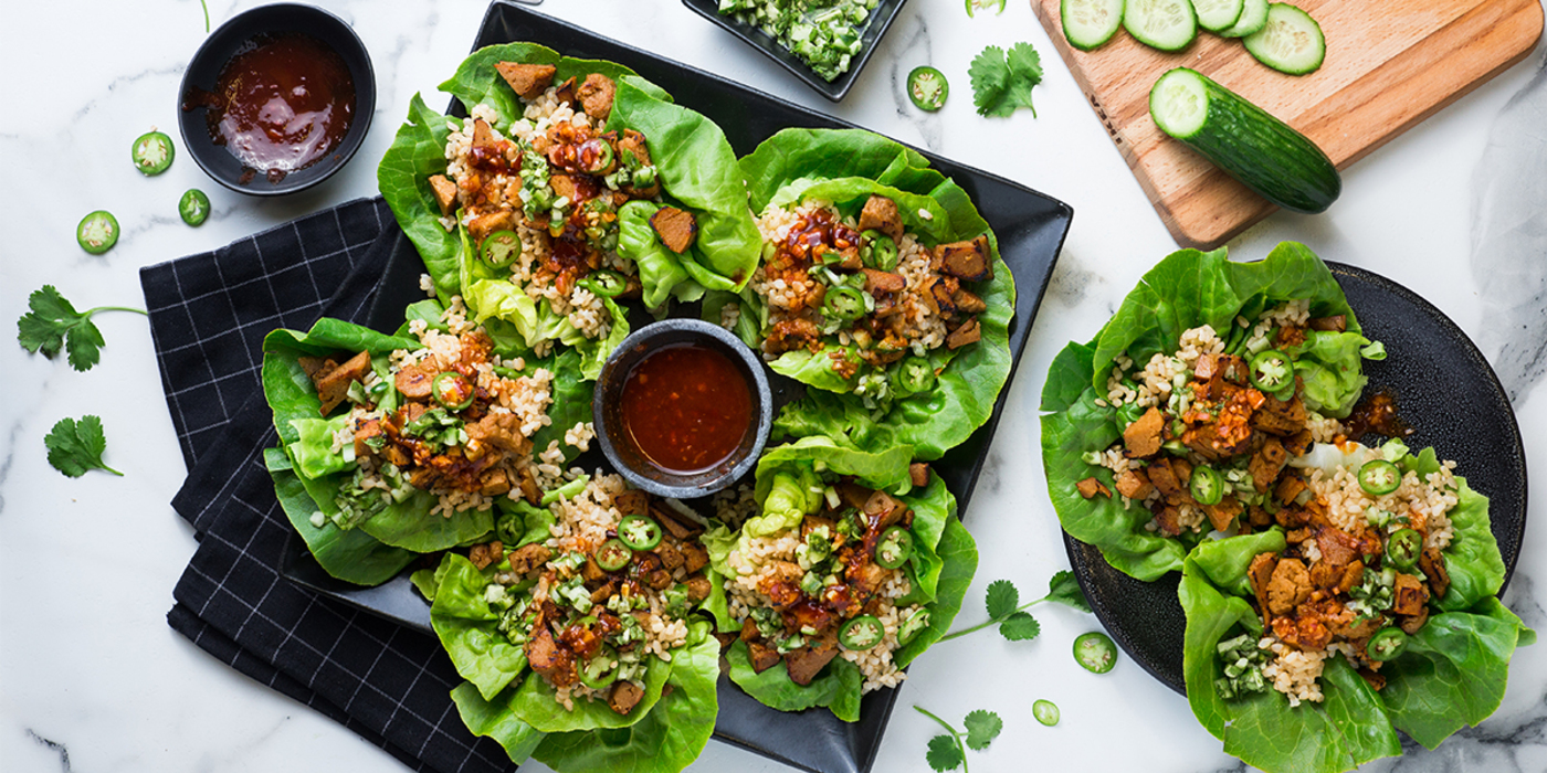 Korean Lettuce Wraps with Seitan and Ssam Sauce