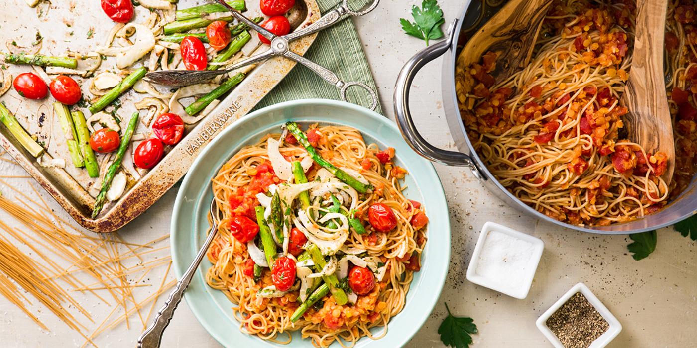 Red Lentil Ragu with Garden Vegetables & Whole Grain Angel Hair Pasta