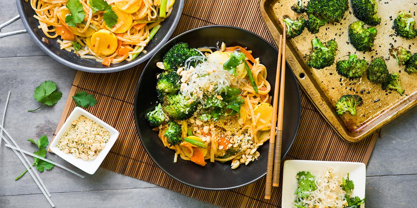 Vegetable Pad Thai with Kelp Salad & Sesame Broccoli