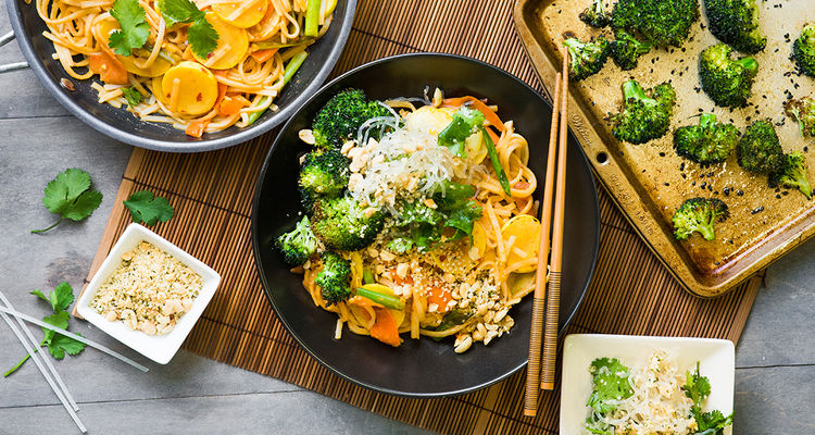 Vegetable Pad Thai with Kelp Salad & Sesame Broccoli
