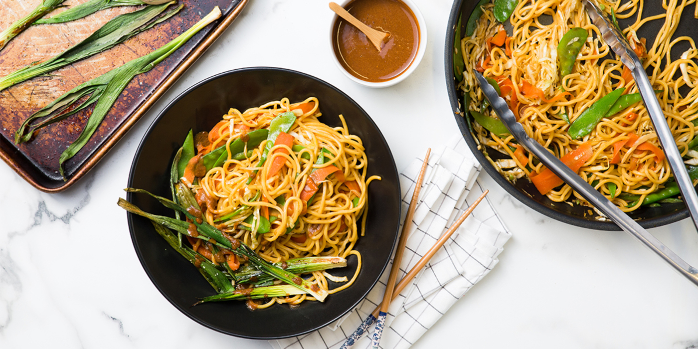 Vegetable Chow Mein with Baby Leeks & Miso Mustard Sauce