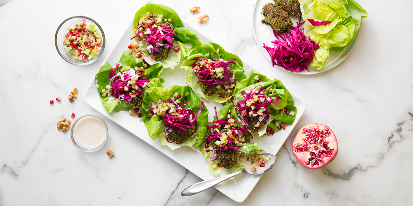 Green Falafel Mezze with Celery Pomegranate Relish & Lemon Tahini